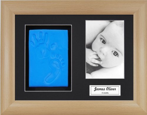 Anika-Baby BabyRice Baby Boy Handprint Footprint Kit Soft Blue Clay Dough Beech Effect Box Photo Display Frame by Anika-Baby by Anika-Baby