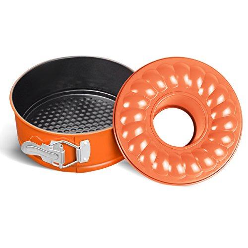 WERSEA 7 Inch Springform Pan Leakproof Bundt Pan for Baking Non-Stick - 7 Bundt Cake Pan Cheesecake Pan for Instant Pot 5QT/6QT/8QT - Orange Coating