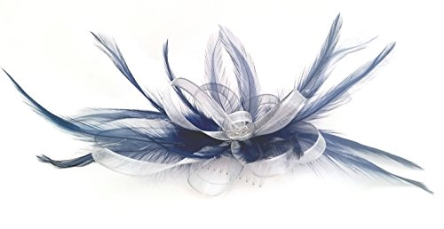 Silver Ribbon   Navy Blue Feathers Hair Fascinator Comb  Amazon.co.uk   Kitchen   Home cb165f0b38b