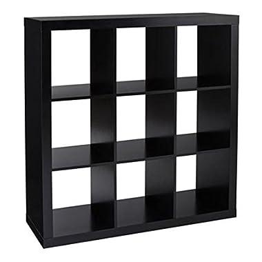 Better Homes and Gardens 9-Cube Organizer Storage Bookcase Bookshelf (Solid Black)