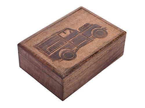 storeindya Handmade Wooden Jewelry Box - Keepsake Box - Storage Organizer - Multipurpose Box - Treasure Chest - Trinket Holder for Women Men Girls - Single (Birth of a Truck Collection)