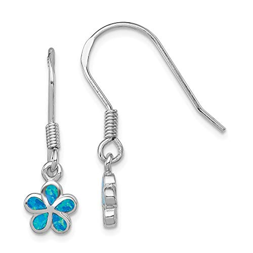 925 Sterling Silver Created Blue Opal Inlay Flower Drop Dangle Chandelier Earrings Gardening Fine Jewelry Gifts For Women For Her