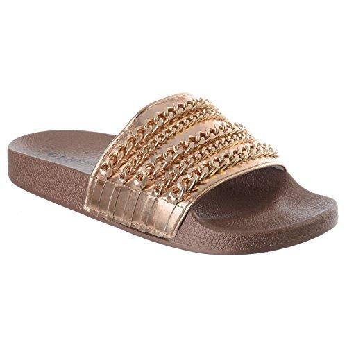 Miss Image UK Damen Kette Sommer Schieber Strand Ohne Bügel Rutschen Pantolette Sandalen Schuhe Größe Rotgold metallisch