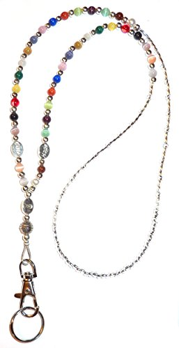 Cancer Awareness Fashion Women's Beaded Lanyard 34'', Breakaway and Non breakaway available, For Keys, Badge holder (Multi - NON Breakaway (Stronger)) by Hidden Hollow Beads