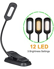 Escolite LED Book Light, Reading Light Rechargeable Reading Lamp with 12 LED, 3-Level Brightness and Eye Care, Flexible Table Light with Soft Clamp for Night Reading, Ebook, Kids, Bed Readers, Knitting, Dormitory
