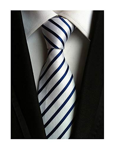 Mens White and Blue Silk Tie Fine Wave Stripe Houndstooth Woven Working Necktie