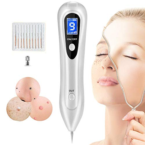 Skin Tag Repair Kit Multi Speed Adjustable Freckle & Tattoo Beauty Equipment Home USB Charging/LCD/10 Replaceable ()