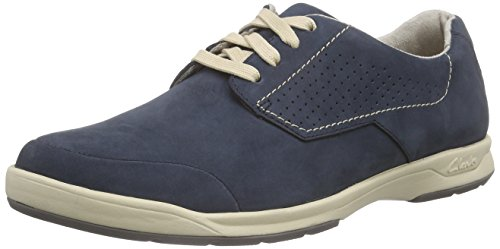 Clarks Stafford Plan - Zapatos Derby para hombre Azul (Navy Nubuck)