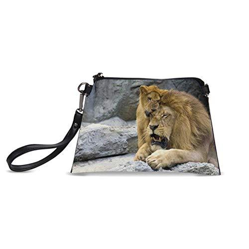 (Safari Decor Simple HandBag,Big Lion with Little Cub Stone Cave Playful Sweet Tenderness Animal Affection Nature for Women,C23.5H15)