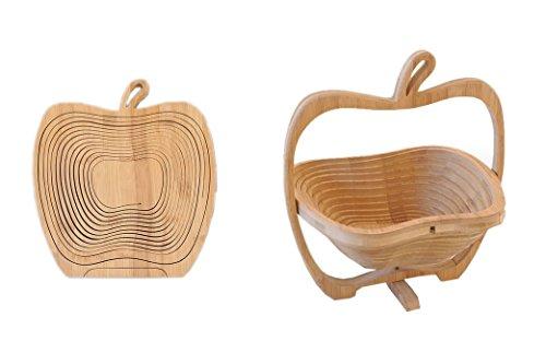 一枚の板が立体のバスケットに変化する 2D→3D 竹製 りんご型 折りたたみ バスケット インテリア 家具 雑貨 くだもの カゴ 小物 入れ 鍋敷き デザイン