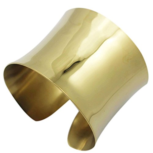 COUYA High Polished Stainelss Steel Gold Plated Luxury Wide Arm Cuff Bangle Bracelets for Women]()