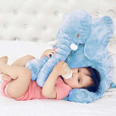 JUMBO Elephant Pillow for Baby/Toddler/Kids/Adults (Blue) - large super soft stuffed toy by CASTLE & KEEP