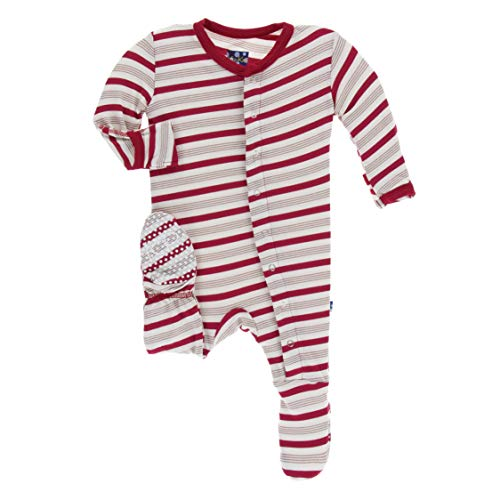 - Kickee Pants Little Boys and Girls Holiday Footie with Snaps - Rose Gold Candy Cane Stripe, 0-3 Months