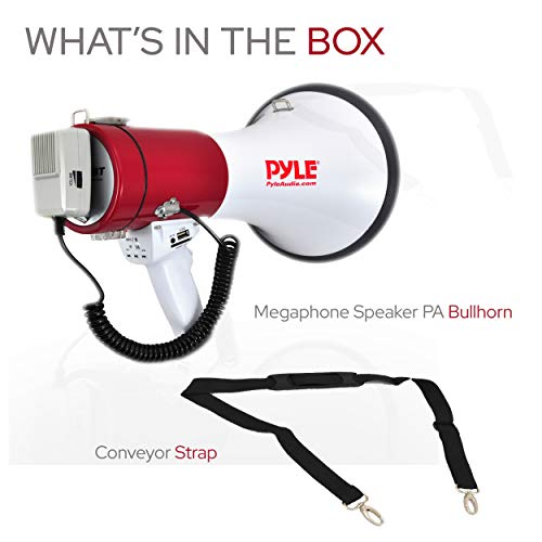 PMP52BT Ideal for Football Hockey and Basketball Cheerleading Fans and Coaches or for Safety Drills Baseball 50 Watts Adjustable Volume Control and 1200 Yard Range Pyle Megaphone Speaker PA Bullhorn with Built-in Siren Soccer