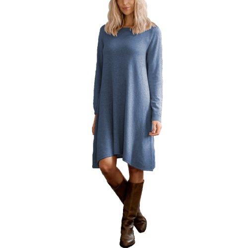 Parisbonbon Women's 100% Cashmere Crew Neck Dress Color Demin Blue Size ()