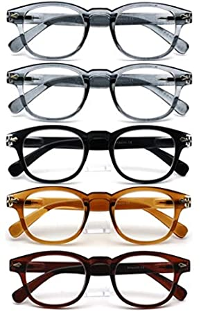 c017b7dd29cf 5-Pack of Amazotti Retro Vintage Wayfarer Style Reading Glasses ...
