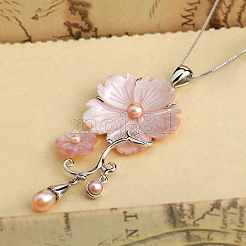 (FidgetKute Fashion Mother of Pearl Abalone Carved Pink Shell Flower Long Pendant Necklace)