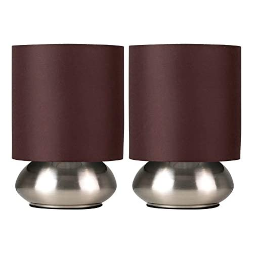 chollos oferta descuentos barato MiniSun Set de 2 Modernas Lámparas de Mesa Táctiles Base Curvada con Pantalla de Color Marrón Mesas o Mesillas de noche iluminación Interior