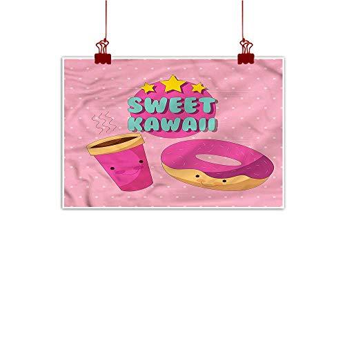 Artwork Office Home Decoration Anime,Sweet Kawaii Donut Coffee 20
