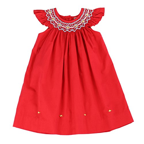 - sissymini - Infant and Toddlers Soft Hand Smocked Angel Sleeve Dress | Riley Hart's Red 12M