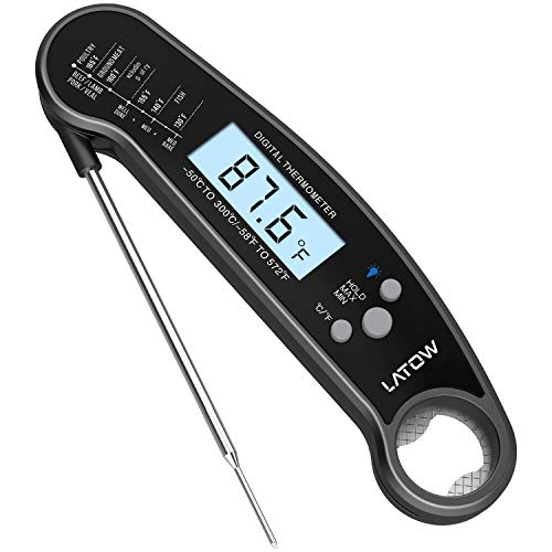 Digital Meat Thermometer - Latow Instant Read Meat Waterproof Thermometer w/ Backlit &  Calibration Bottle Opener Function Long Probe Portable Thermometer for BBQ Indoor Outdoor Kitchen Oven