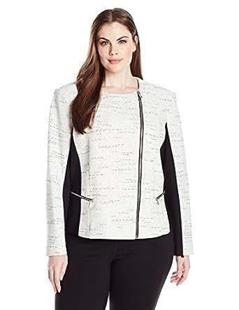 Calvin Klein Women's Tweed Jaquard Jacket, Soft White, 2