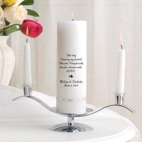 Personalized Unity Wedding Candle Set - Personalized Wedding Candle - Includes Stand - This Day - Personalized Wedding Unity Candle