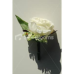Delightful Vintage Ivory Rose Buttonhole w/ Wild Flower & Allium 84