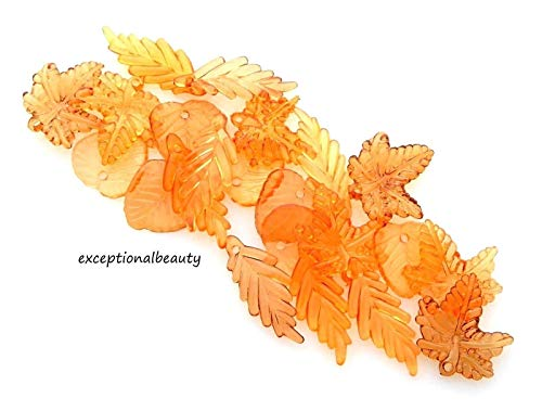 - 100 Assorted Autumn Fall Orange Brown 15-24mm Leaf Leaves Bead Drop Charms