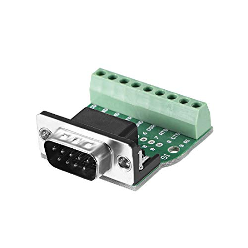 uxcell D-sub DB9 Breakout Board Connector 9 Pin 2 Row Male RS232 Serial Port Solderless Terminal Block Adapter