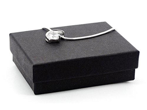 Authentique Collier en argent sterling Design unique mignon avec pierre oxyde de zirconium blanc transparent noir avec boîte à bijoux