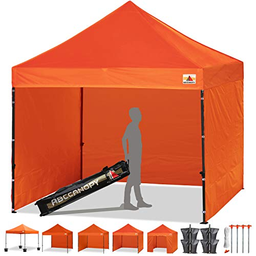 ABCCANOPY (18+Colors 8ft by 8ft Ez Pop up Canopy Tent Commercial Instant Gazebos with 4 Removable Sides and Roller Bag and 4X Weight Bag (Brown)
