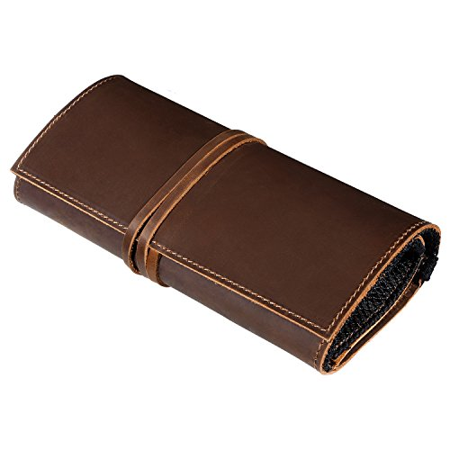 Genuine Crazy Horse Leather Electronics Organizer Roll Bag Travel Pouch for USB Cable, SD Card, Charger, Earphone, Passport, Cash, Coins, Hard Drive by BY BARNEY by BY BARNEY (Image #1)'