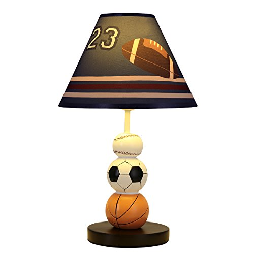 Muti-Sport Table Lamp Basketball Football Soccer Baseball Kids Table Lamp Handmade Nightstand Lamps Imagination Inspiring with Fabric Odorless Lampshade for Boy's Bedroom,Sturdy,Nursery Room