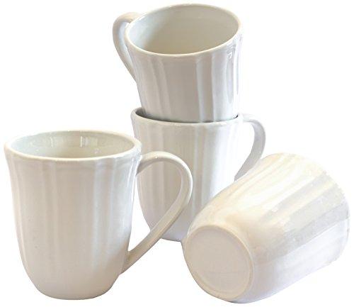 Euro Ceramica Chloe Collection Elegant Ruffled Ceramic Coffee/Tea Mugs, 12oz, Set of 4, White
