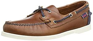 Sebago Mens Cognac & Navy Spinnaker Boat Shoes-UK 7.5
