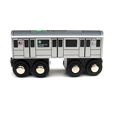 Munipals Wooden Railway NYC Subway Car 5 Train: Toys & Games