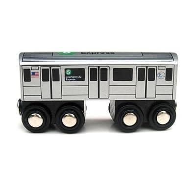 Munipals Wooden Railway NYC Subway Car 5 Train: Toys & Games