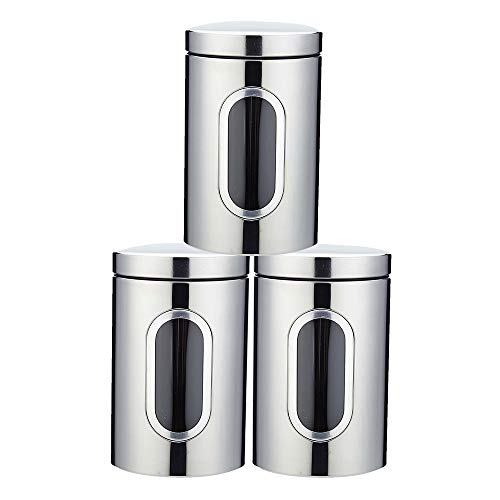 Stainless Steel Kitchen Canister Sugar Food Tea Coffee Candy Storage Containers with Transparent Windows (3 Pcs) (Silver) (And Containers Coffee Tea)