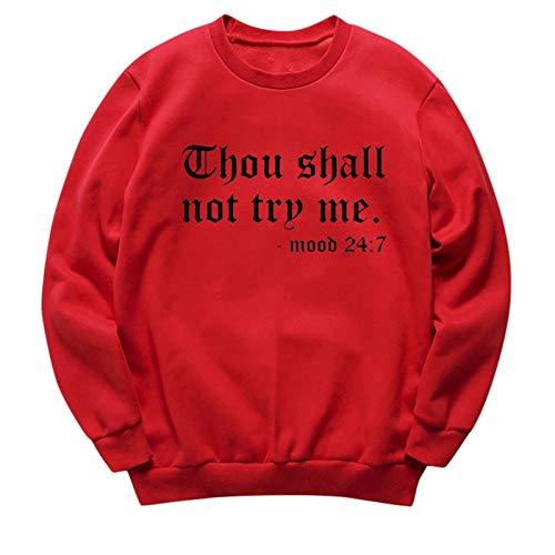 WomenGraphicCuteSweaters-ThouShallNOTTryME-AutumnLetterPrintFunnyPulloverTeenGirlsSweatshirts Red