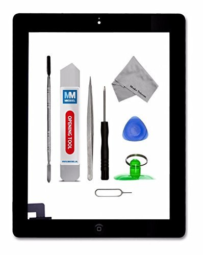 MMOBIEL Digitizer for iPad 2 (Black) Touch Screen Front Display Assembly Incl Home Button flex Camera Holder Pre Installed Adhesives and Tool kit