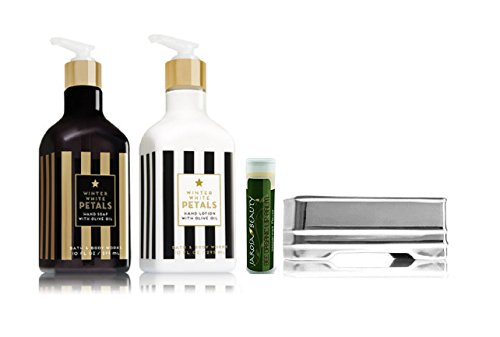 Hand Care Caddy - Bath & Body Works WINTER WHITE PETALS Hand Lotion, Hand Soap & Decorative Silver Ceramic Soap Caddy with a Jarosa Bee Organic Peppermint Lip Balm