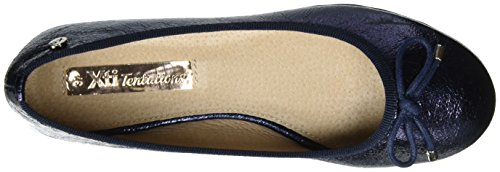 Ladies Navy Chiusa Donna Ballerine Shoes Metallic Navy XTI Navy Blu Punta qwpdxYEUP