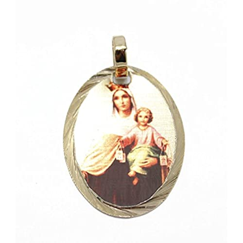 Virgen Del Carmen Pendant 14k Gold Plated Medal with 18 Inch Chain
