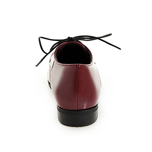 AllhqFashion Damen Rund Zehe Schnüren Blend-Materialien Rein Niedriger Absatz Pumps Schuhe Rot