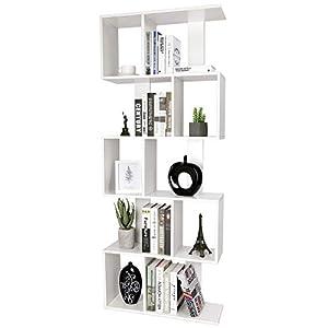 amzdeal Bibliothèque Étagères en Bois Moderne, 5 Niveaux de Rangement Meuble – Dimension 175 * 70 * 23,5cm – Étages de…