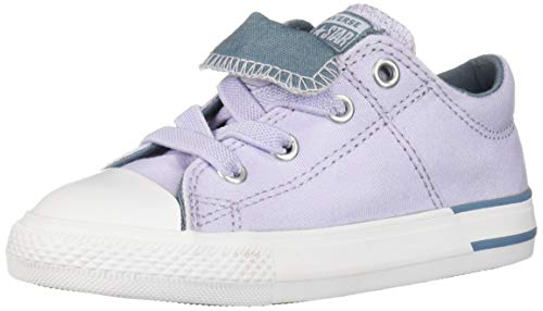 Converse Girls Infants' Chuck Taylor All Star Maddie Signature Slip On Sneaker, Oxygen Purple/Celestial Teal, 4 M US Toddler