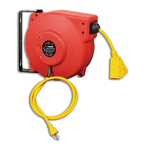 REELWORKS Retractable Extension Cord Reel Polypropylene Industrial 12AWG x 40' Feet Commercial Grade 3C SJT Cable with Triple Tap Connector 15A 125VAC 1875W 60Hz Circuit Breaker Best for Indoor Use