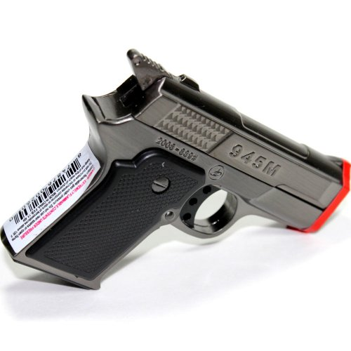 9MM Hand Gun Pewter Gun Metal Color Dual Jet Flames Refillable Butane Torch Lighter 3 Inch