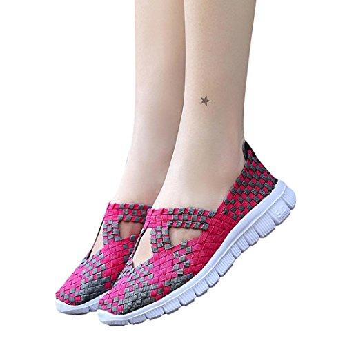 Giorno Promozione Donna Comode Caldo Comode Sneaker Grande Scarpe Casual Piattaforma Traspirante Tessuto Scarpe Stringate da Stringate Casual Primo Rosa Corsa Sportive Suole Scarpe in qSdWppE